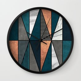 Copper, Marble and Concrete Triangles with Blue Wall Clock