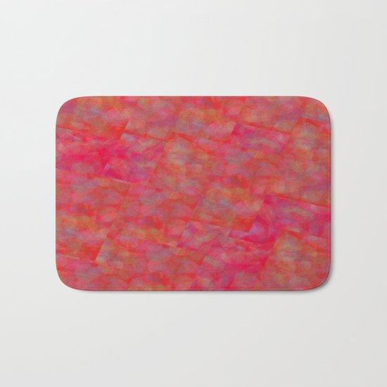 Bright Pink Cubism Abstract Bath Mat