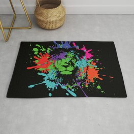 Lion Pop Art , African Lion Pop Art with colorful spots and splashes Rug