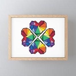 Rainbow color clover leaf Framed Mini Art Print
