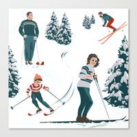 sports Canvas Prints featuring Sports d'hiver by Vannina
