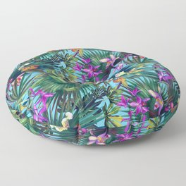 Tropical pattern with  orchids and palm leaves Floor Pillow