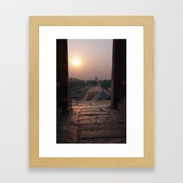 Sunset Over Hampi Bazaar Framed Art Print