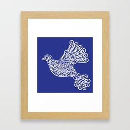 Peace, Dove, White on Blue Framed Art Print