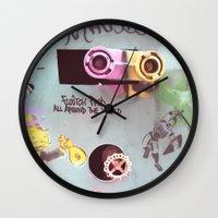 wall e Wall Clocks featuring WALL-E by Oy Photography