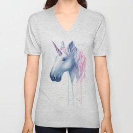 Blue Pink Unicorn Unisex V-Neck