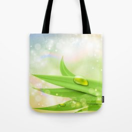 pastel colors with green grass and dew Tote Bag