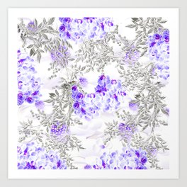 ORCHIDS PURPLE VINES AND CHERRY BLOSSOMS Art Print