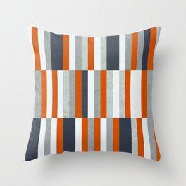 Orange, Navy Blue, Gray / Grey Stripes, Abstract Nautical Maritime Design by Throw Pillow