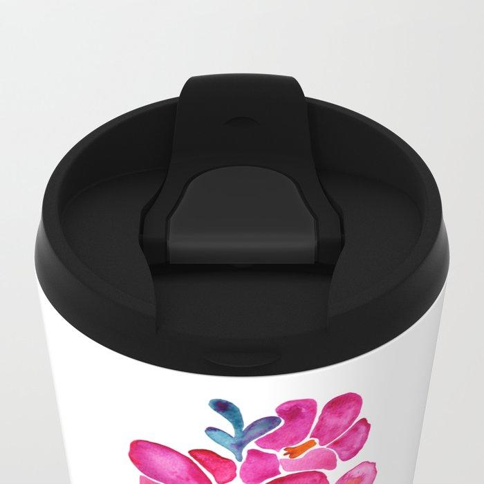 Blooming Orchid – Fuchsia & Indigo Palette Metal Travel Mug