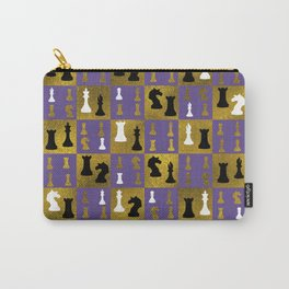 Violet Chessboard and Chess Pieces pattern Carry-All Pouch