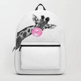 Bubble Gum Black and White Sneaky Giraffee Backpack