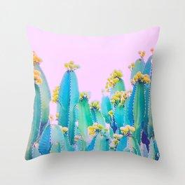 Cactus Bloom - Aqua, blue and pink Throw Pillow