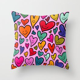 Smiling Heart Print Throw Pillow