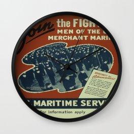 Vintage poster - U.S. Maritime Service Wall Clock