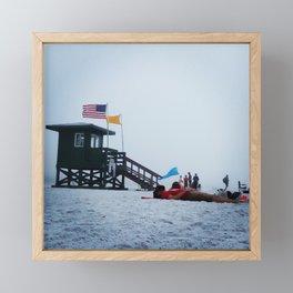 Moon life, day at siesta key beach, Florida. Framed Mini Art Print