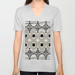 Distressed Abstract Flower Boho Batik Tribal Pattern in Black and Taupe Gray Unisex V-Neck