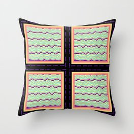 FOUR TIMES MULTI COLOR WAVES Design Pattern Throw Pillow