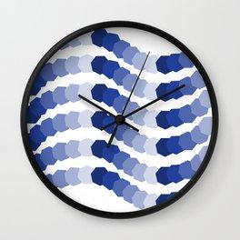 Monochromatic Blue Heptagon Waves Wall Clock