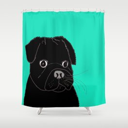 The Contemplative Pug. Shower Curtain