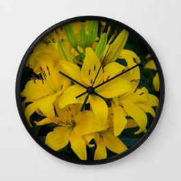 Yellow Lilies by Teresa Thompson Wall Clock