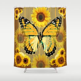 NUT & PUTTY COLORED YELLOW SUNFLOWERS ART Shower Curtain