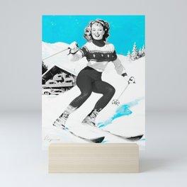 Snow Bunny Pin Up Girl Turquoise Mini Art Print