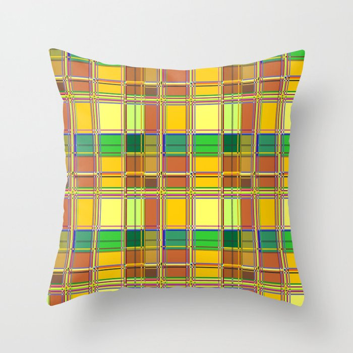 Caribbean Colorful Fabric Madras Tartan Throw Pillow