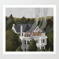 mansion fire Art Print