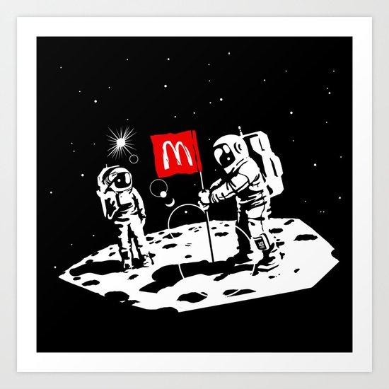 First we take Manhattan, Then we take Moon Art Print