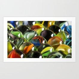 Macro Image of Antique Glass Marbles Art Print
