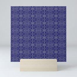 Dark Intricacy Persian Rug Magic Carpet Midnight Blue Indian Pattern Spirit Organic Mini Art Print