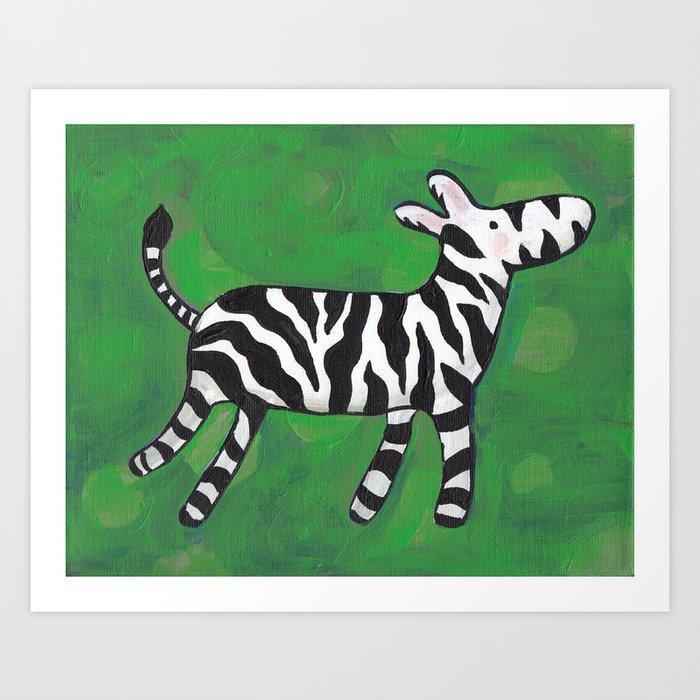 Nursery Painting Zebra On Green Decor Baby Or Boy Art Print By Laureneberhardt
