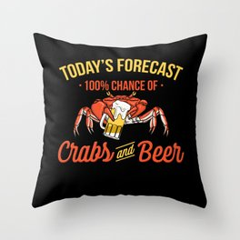 Crabs And Beer Forecast Alcohol Seafood Drinking Throw Pillow