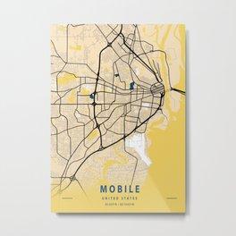 Mobile Yellow City Map Metal Print