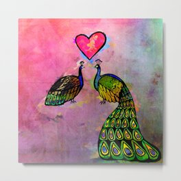 Love Birds Fine Art Print, Peacocks, Pink Metal Print