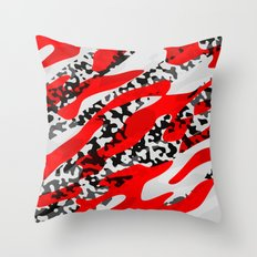 red and Black Camo abstract Throw Pillow