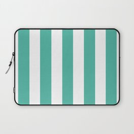 Blue lagoon - solid color - white vertical lines pattern Laptop Sleeve