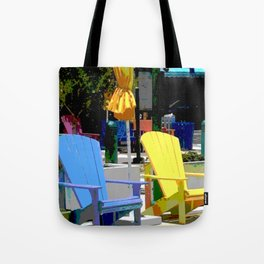 Brightly Colored Chairs Tote Bag