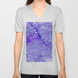 Digital Abstract Blue Texture  Unisex V-Neck