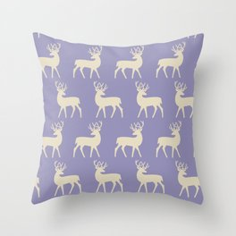 Mid Century Modern Deer Pattern Lavender and Tan Throw Pillow