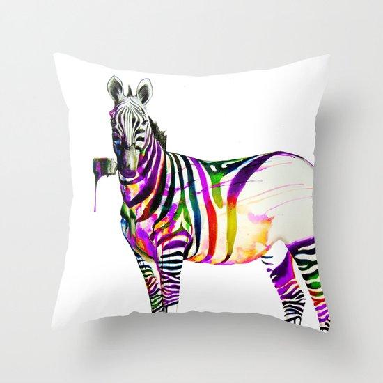 zebra painting Throw Pillow