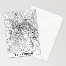 Pittsburgh White Map Stationery Cards