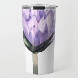 Purple Water Lily in Watercolor Travel Mug