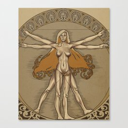 Vitruvian Woman Nouveau Canvas Print