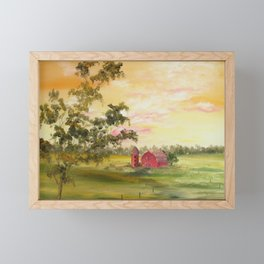 Red Barn, Farm Painting, by Faye Framed Mini Art Print