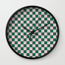 Cotton Candy Pink and Cadmium Green Checkerboard Wall Clock