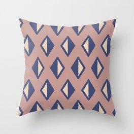 Diamond Pattern Beige and Blue 22 Throw Pillow