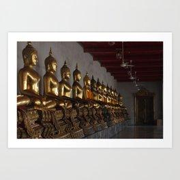 Buddha in a Row Art Print