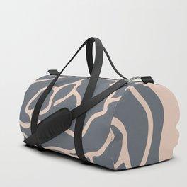 Minimalist Flower Navy Gray on Blush Pink Duffle Bag